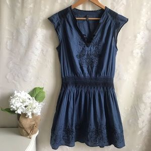 Free People Blue Cotton Dress Tunic Cinched Waist